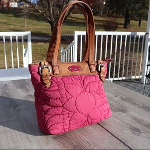 Fossil pink embroidery floral pattern tote purse